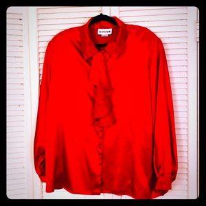 🌸NEW🌸EUC VTG hot red Victorian ruffle blouse
